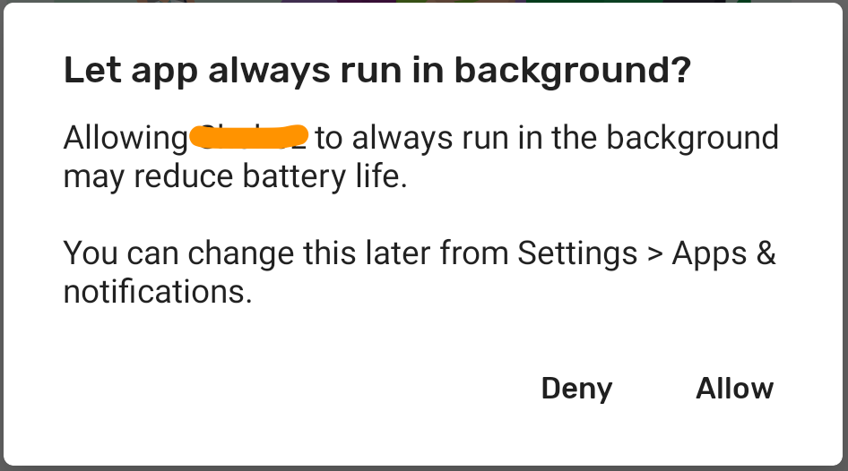 REQUEST_IGNORE_BATTERY_OPTIMIZATIONS Dialog